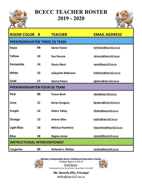 BCECC TEACHER ROSTER
