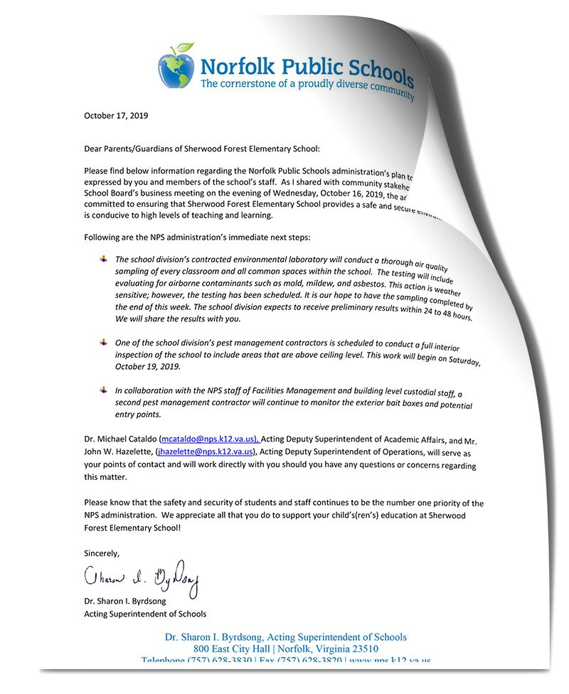 Letter from Acting Superintendent of Schools Dr. Sharon I. Byrdsong