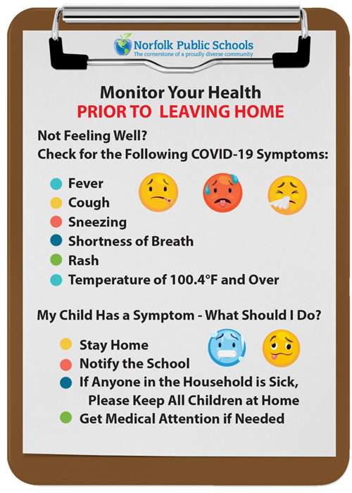Monitor your health prior to leaving home.