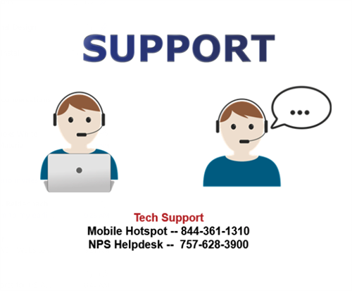 Technology Support, mobile hotspot 8443611310, NPS helpdesk 7576283900