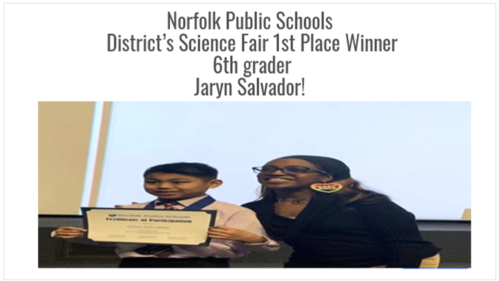1st Place District's Science Fair