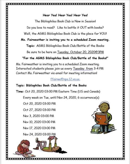 Join the AGMS Bibliophiles Book Club!