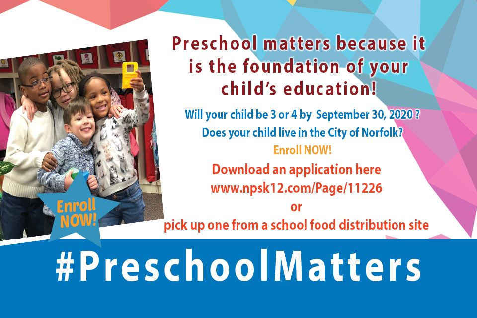 Norfolk Public Schools still accepting preschool enrollment applications for the 2020-21 school yea