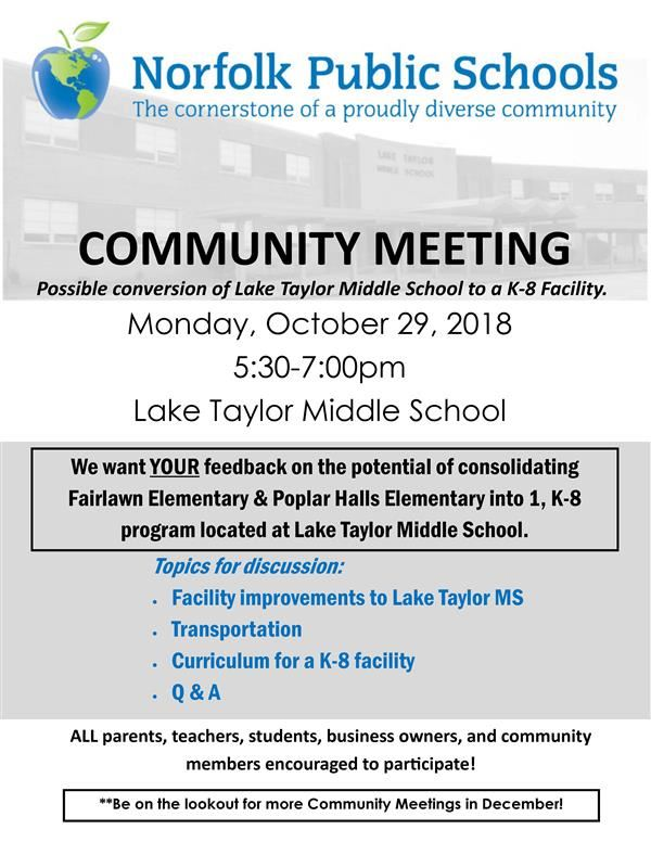 Lake Taylor Community Meeting