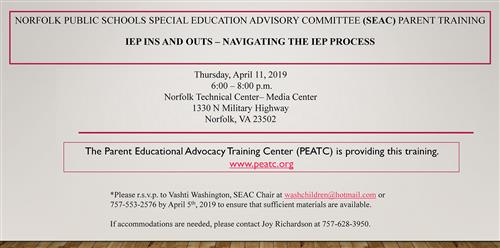 NPS Special Education Advisory Committee Parent Training