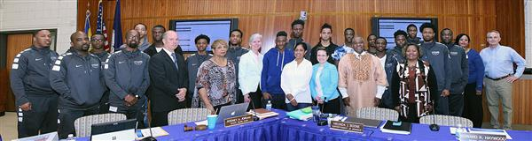 Lake Taylor Titan Basketball Team with The NPS School Board