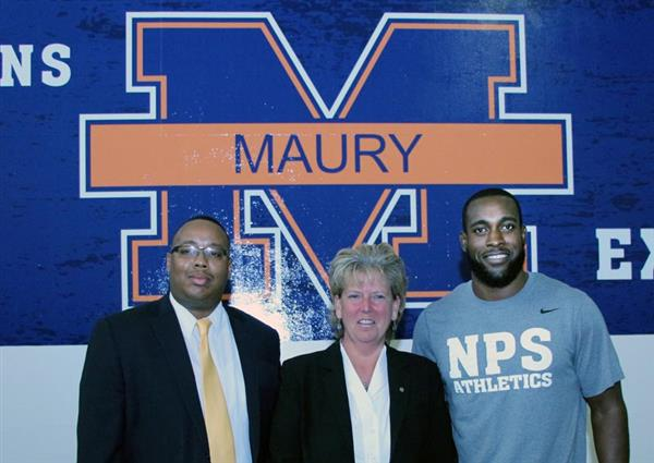 Mr. Eric Blackwell, Athletic Dir. at Bryant & Stratton College, Ms. Karen Berg, principal at Maury High and  Kam Chancellor