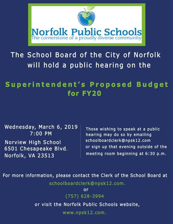 Public Hearing for Superintendent's Proposed Budget for FY20