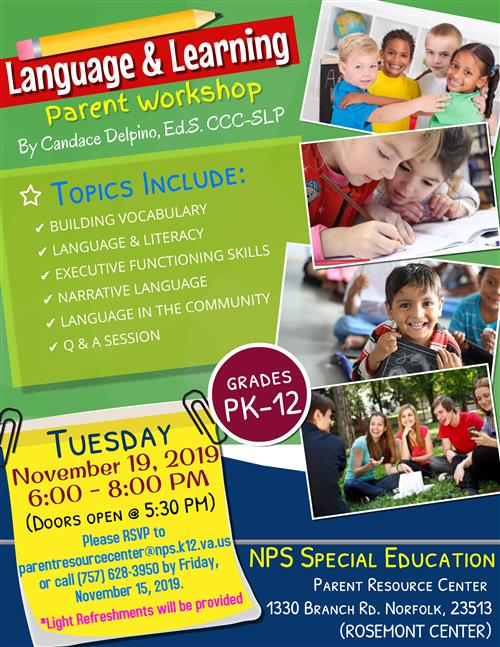 Language and Learning Parent Workshop