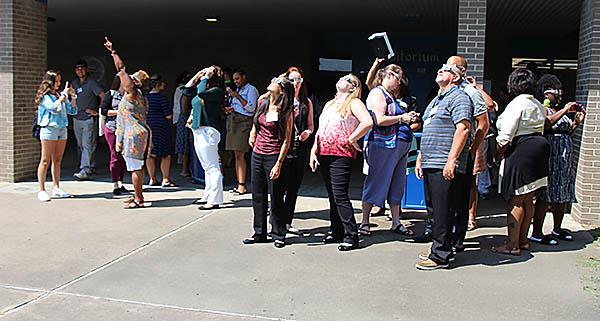 Partial Eclipse Viewing part of New Teacher Orientation at Lake Taylor High School