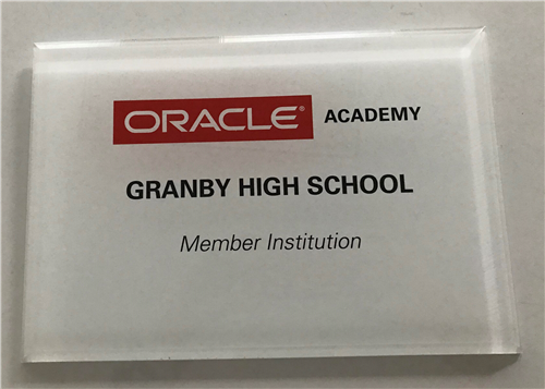 Granby High School was recently accepted to receive Institution Membership in Oracle Academy