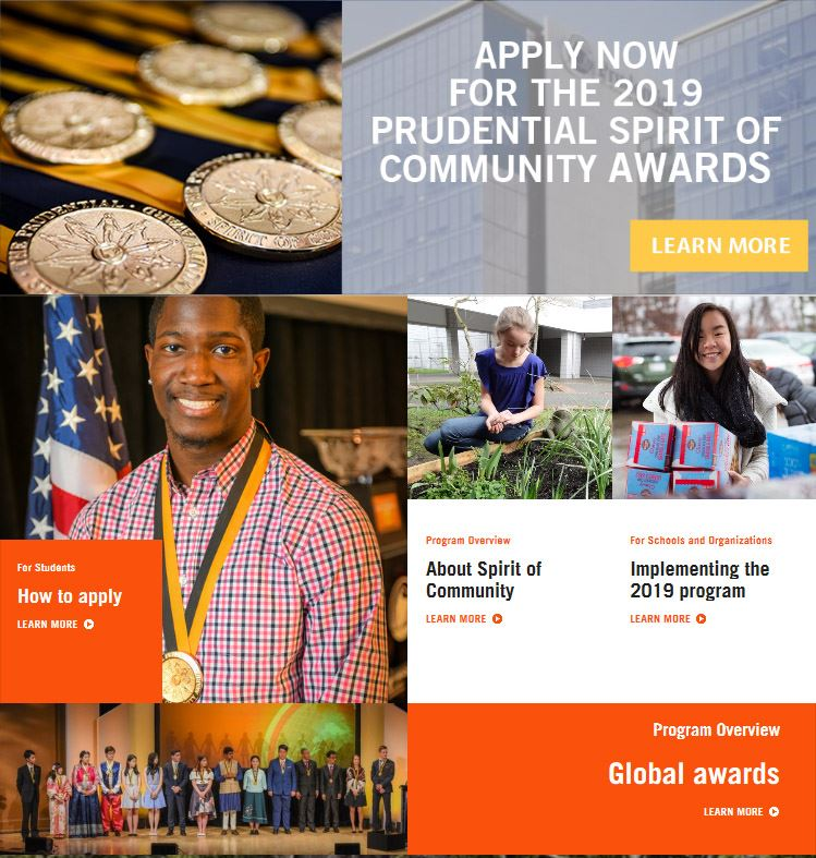 Applications are now being accepted for the Prudential Spirit of Community Awards