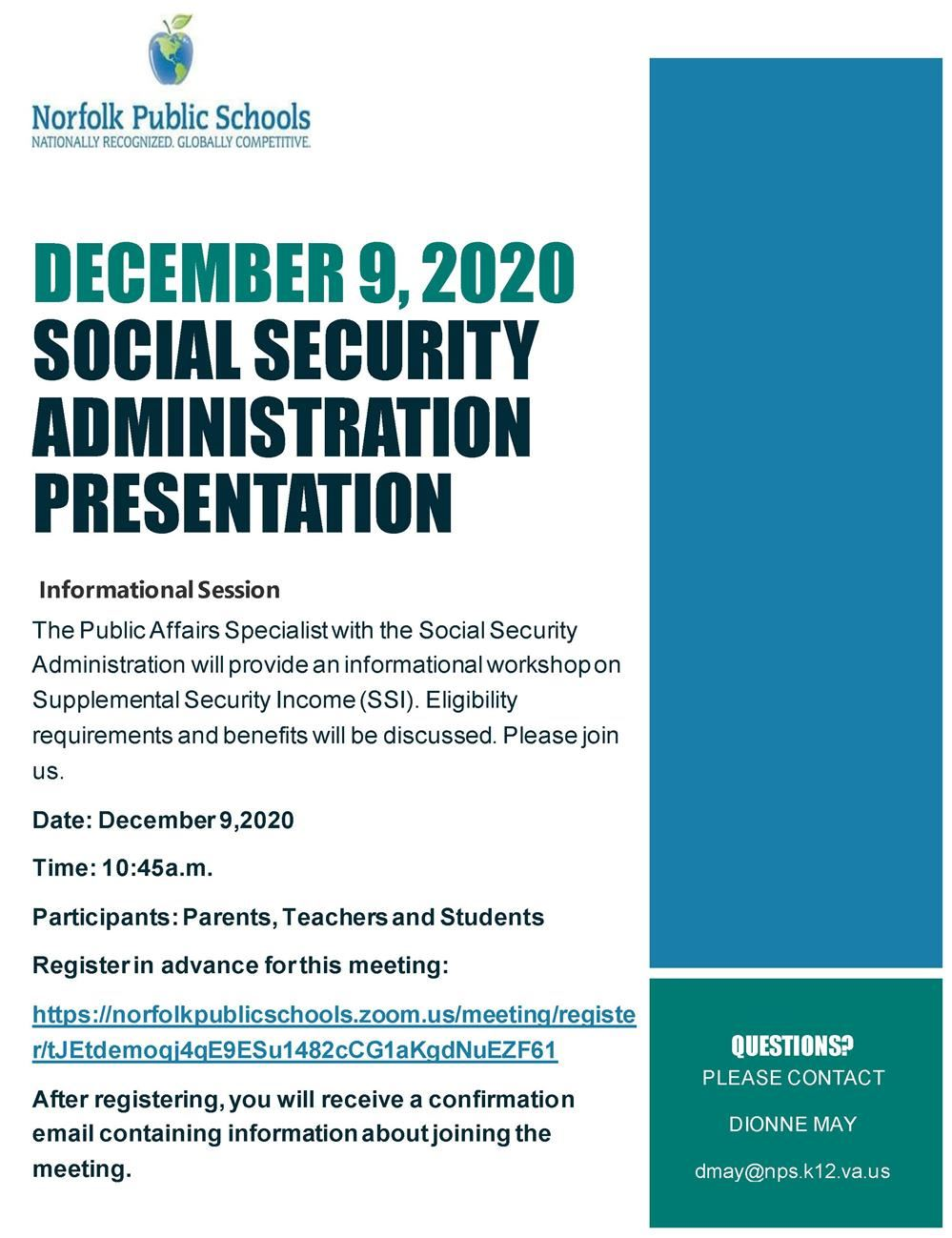 Please Join Us for an Informational Session and Discussion on Supplemental Security Income (SSI)