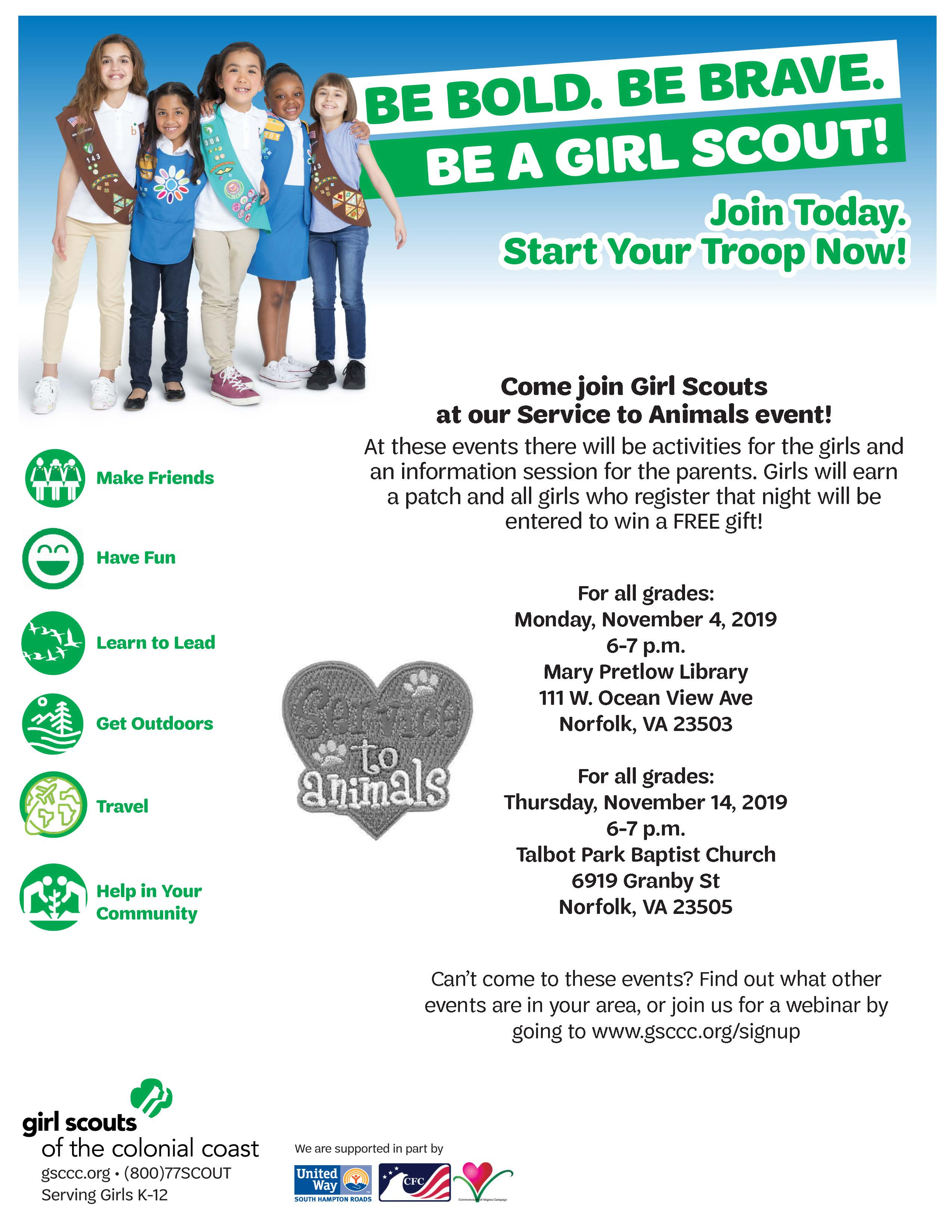 Girl Scouts service to animals event