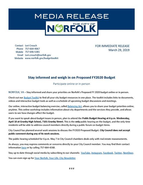 Proposed FY2020 Budget