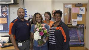 L-R: Rodney Mangum, AP; Alexandrea Powers, Teacher of the Year; Tamara Dunn, AP; an Letisha Lawrence, AP  Hiding: Les Knight