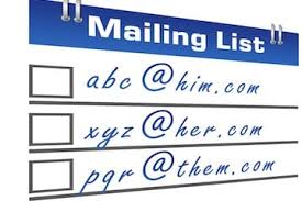 Image of email addresses on a card