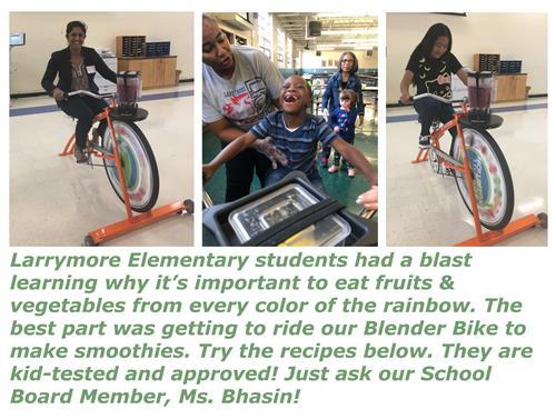 Larrymore students learned about fruits & veggies and made smoothies on our blender bike!