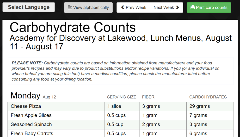 Pop-up Screen to show an example of how carbohydrate counts display on online menus.