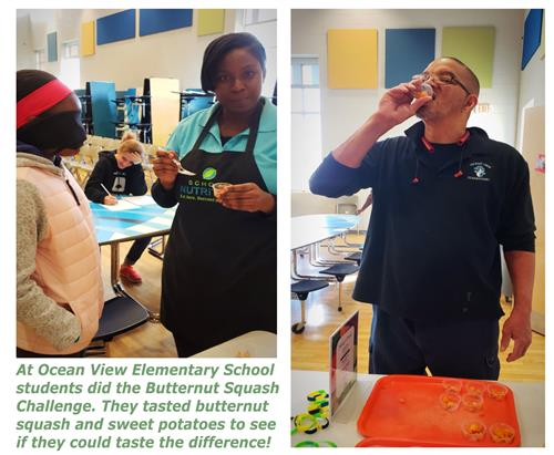Ocean View ES students saw if they could taste the difference between butternut squash and sweet potatoes.