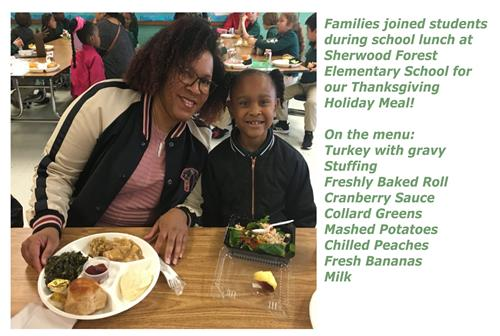 Families joined students during School Lunch for our annual Thanksgiving Holiday Meal!