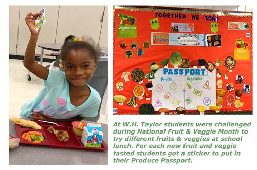 WH Taylor hosted a fruit & veggie contest to challenge students to try different fruits & veggies.