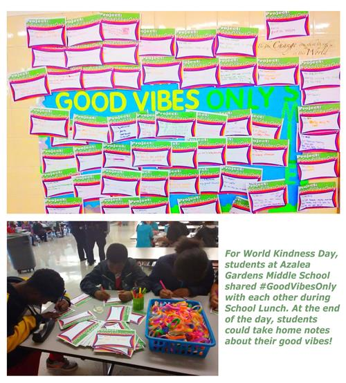 For World Kindness Day, students at AGMS shared #GoodVibesOnly with each other during School Lunch.