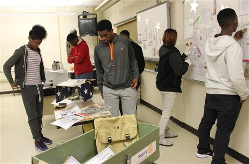 Students viewing artifacts