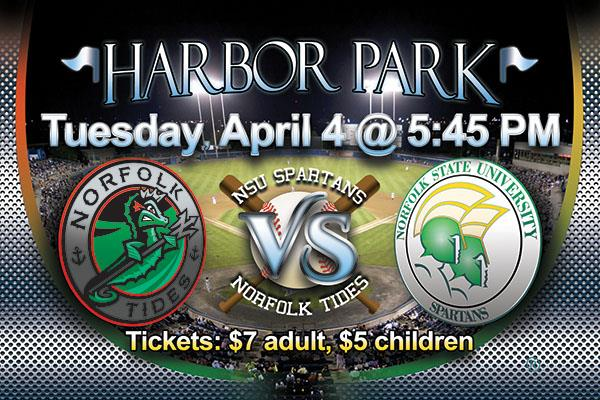 The Norfolk Tides are playing the Norfolk State University baseball team at Harbor Park on Tuesday, April 4th