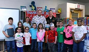 Tarrallton Elementary School celebrated the 100th Day of School with representatives from Naval Sta