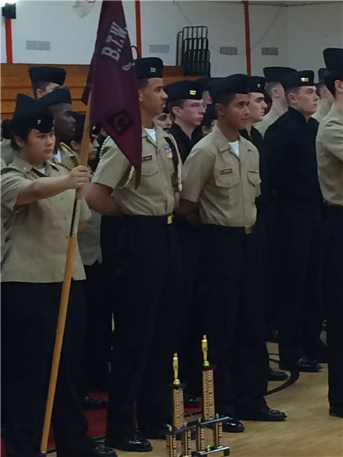 NJROTC students with trophy