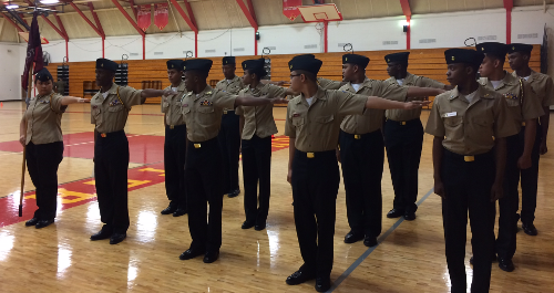 NJROTC students in formation