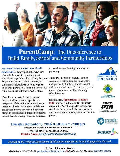 VDOE promotes Parent Camp to Build Family, School and Community Partnerships